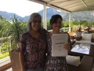 A gerente de prdoução do Ubook Marta Ramalhete e a narradora Cristina Flores